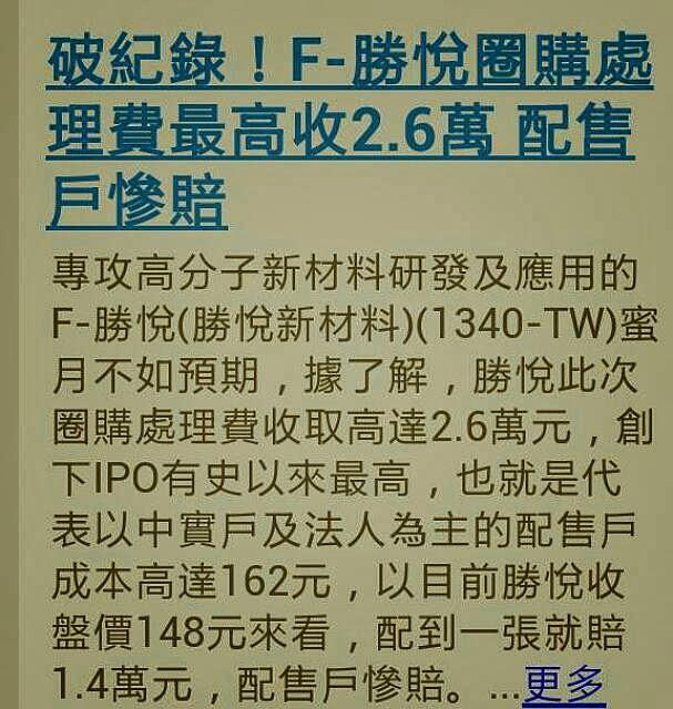 破紀錄!F-勝悅圈購處理費最高收2.6萬 配售戶慘賠